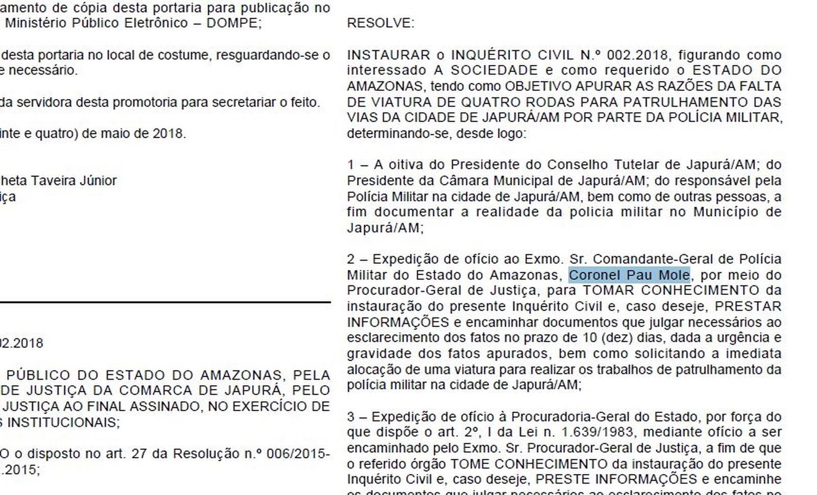 Comandante Geral da PM é chamado de 'coronel pau mole' em Diário Oficial do Amazonas